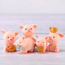 1 Piece Cute Kawaii Miniature Pink Pig Pigs Chin Model StatueCake Topper Decorations Resin DIY Craft Project Decoration Home
