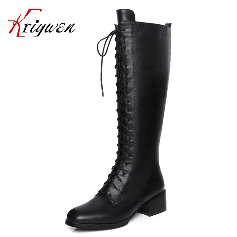 Plus size 34-44 New Black Brand knee high Boots high Heeled Round Toe Women motorcycle Boots riding Shoes lady Woman winter boots women black breathable comfortable round toe warm velvet high heeled shoes knee high red boot 44 43 plus large size