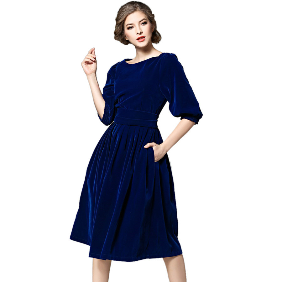 Fustanet e pistës 2018 Pranvera Verë Verë Blu e Kuqe Fustan Gratë Gjysmë Mëngë Vintage Priness Virta Pleated Vestidos