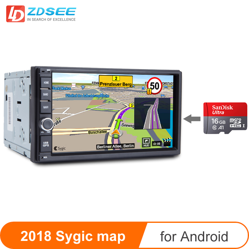 GPS Map For 2 Din Car Radio Android Sygic GPS Navigation Maps Free Update Micro SD Card 16GB Europe Russia Spain Middle East