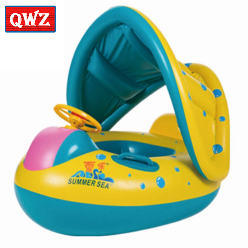 QWZ High Quality Safety Baby Inflatable Swimming Ring Float Inflatable Adjustable Sunshade Seat Boat Ring Removable sun screen