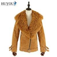 HUYOU 2018 новый женский зимний шуба куртка шуба натуральный мех тепло дубленка плюс размер настоящая кожа шубы парка с натуральным мехом JM171173 Б