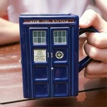 Kreative Geschenk Doctor Who Figural Tardis Porzellan Quadratischen Kaffeetasse mit Abgedeckt und Löffel Police Box Form