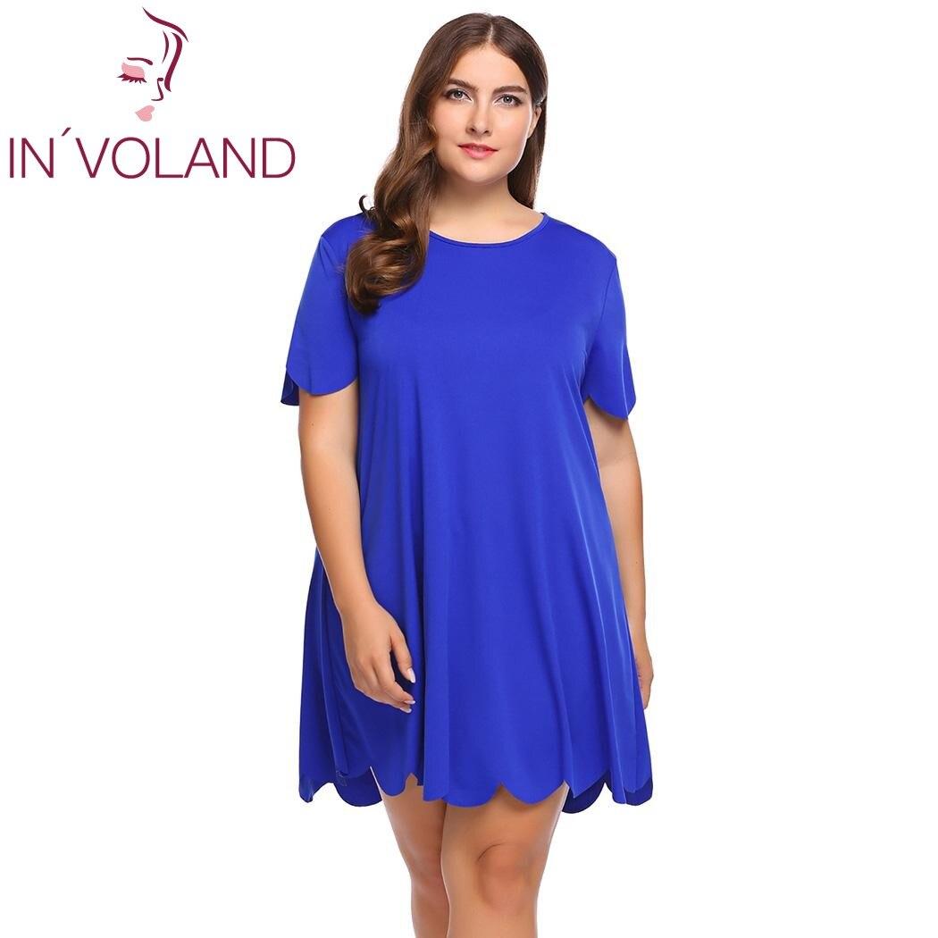 IN'VOLAND Plus La Taille Femmes A-ligne Robe XL-5XL O-cou À Manches Courtes Festonné De Base Mini Vintage Robes de Soirée Robes Robe