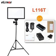 ЖК дисплей Viltrox L116T, двухцветный и Диммируемый тонкий светодиодный светильник для DSLR видео + аккумулятор + зарядное устройство для камер Canon, Nikon, DV, видеокамеры