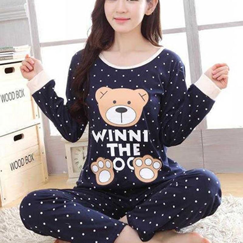 Cute Sleepwear   Pajamas     Sets   Spring Autumn Thin Cartoon Print Women Long Sleeve Sleepwear Suit Home Women Gift Female Sleepwear