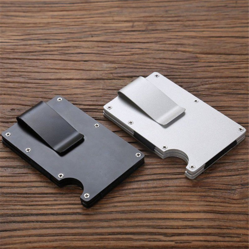 Unisex New Fashion Wallets Slim Carbon Fiber Credit Card Pockets RFID Blocking Metal Money Clips Purse Wallets