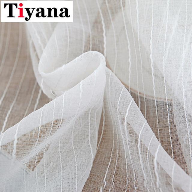 Tiyana Moderno A Righe di Colore Bianco di Tulle Tenda Pura per soggiorno Camera