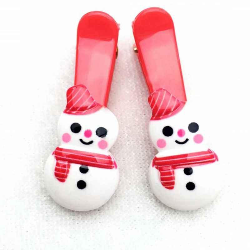 1Pc ילדים תינוקת חג המולד קריקטורה דפוס שיער קליפים כפפת עץ סנטה קלאוס סיכות פלסטיק שרף מקור ברווז