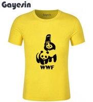 Men T Shirts Funny Spoof Logo WWF Panda Design Printed 100 180 Gsm Combed Cotton Casual