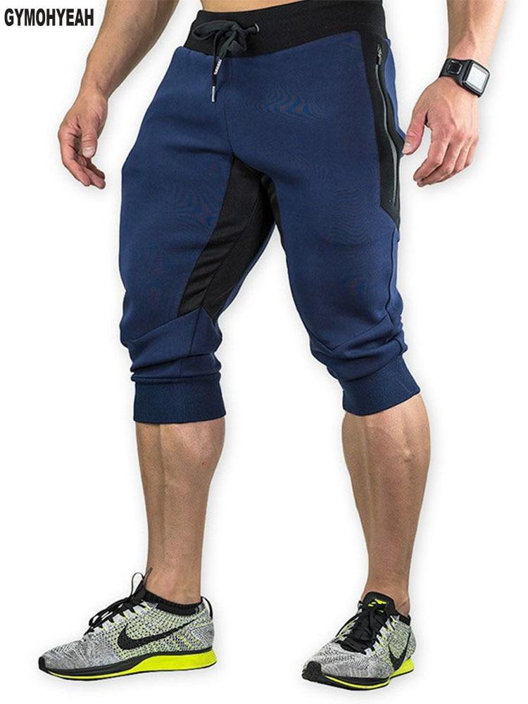 GYMOHYEAH New high quality slim fit Bodybuilding mens fashion no Logo   short   pants new Fitness Joggers sweatpants   shorts   men's
