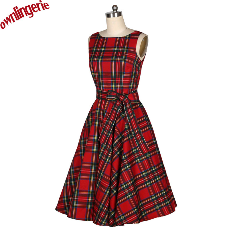 2016 xs xl sizes Summer Women Elegant V Neck Sleeveless 50s Red Plaid Dresses Slim Lady