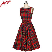 2016 xs-xl sizes Summer Women Elegant V Neck Sleeveless 50s Red Plaid Dresses Slim Lady Party Scottish Tartan Casual Dress