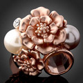 Free Shipping Austrian Crystal 14 K Gold Plated Women Engagement Party Jewelry Wholesale Faux Pearl Flower Wedding Rings