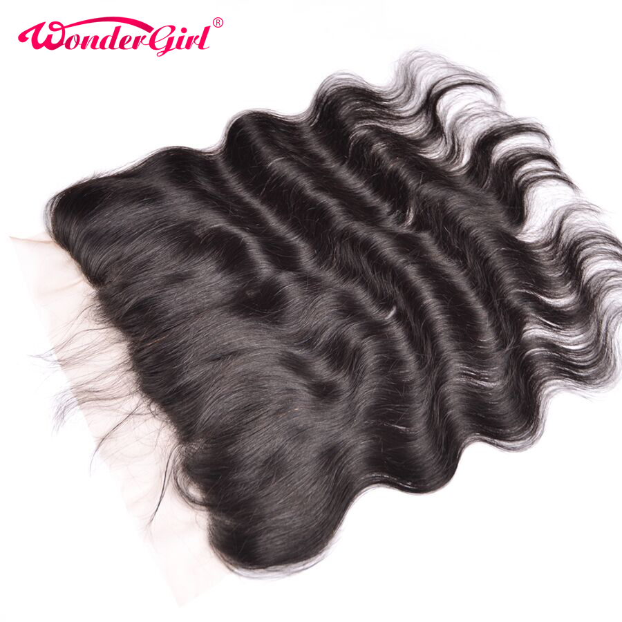 Wonder Girl 13x4 Brazilian Body Wave Snörning Frontal Closure With Baby Hair Free Part Mänskliga Hår Frontal Remy Hair Bundles