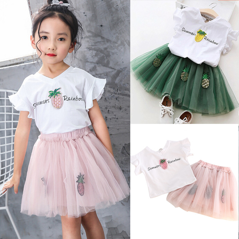 a469744ef1 2018 Multitrust Brand Summer Kids Baby Girls Pineapple Rainbow ...