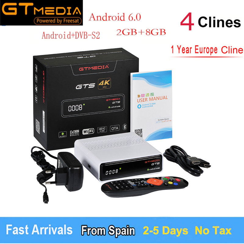 GT MEDIA GTS Android 6.0 TV Box +DVB-S2 Satellite TV Receiver H.265 HD 4K Smart TV Box with Free European 4 Line 1 Year Or IPTV