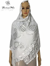 2016 New African scarf, Muslism embroidery women white scarf,Nice design soft material small Cotton scarf for women