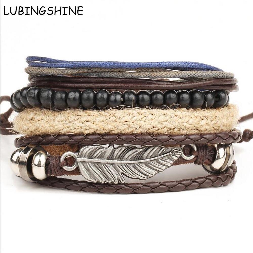 LUBINGSHINE Braided Wax Rope Bracelets Mens