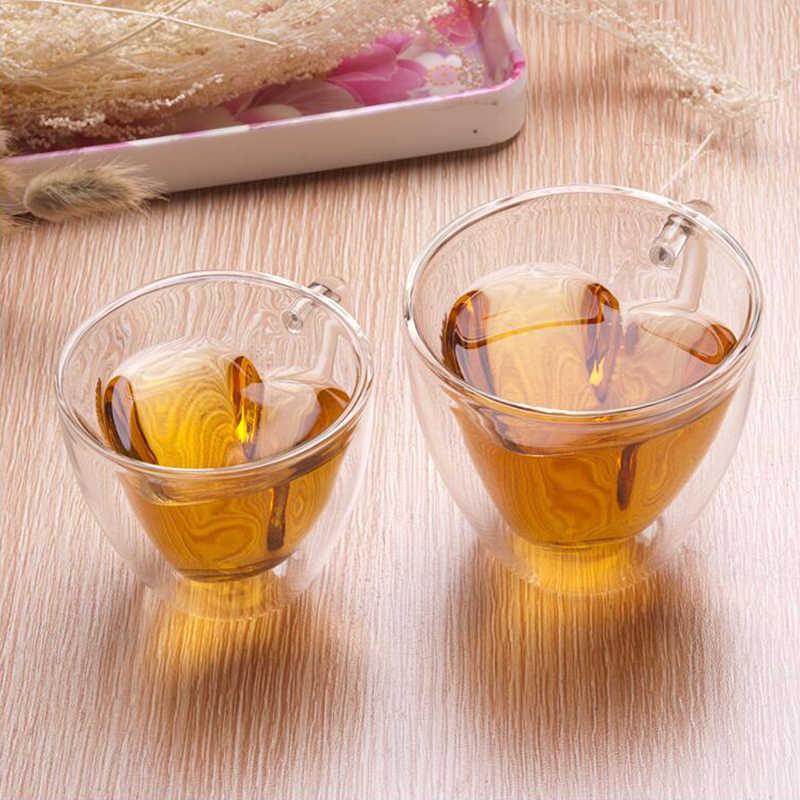 1PC Hati CINTA Berbentuk Kaca Mug Couple Gelas Double Wall Mug Tahan Teh Bir Mug Susu Jus Lemon cangkir Air Minum CA