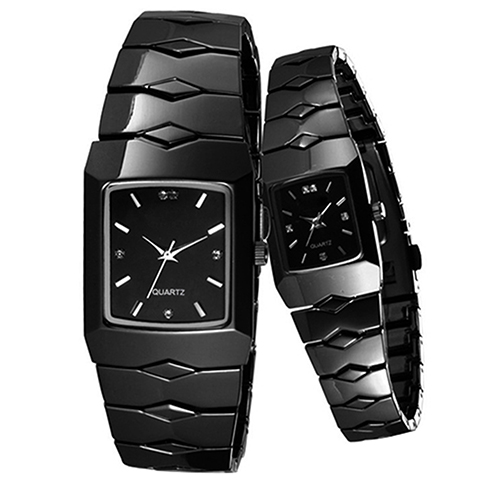 Hot Sales Full Stainless Steel Black Luxury Classic Couple Watches Quartz Wrist Watch New Design 5D7D 6UFT