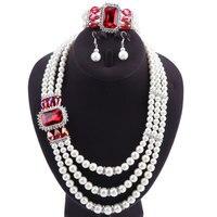 Brand Replica Indian Pearl Jewelry Schmuck Set Dubai Gift Wedding Set Necklace Bracelet Broach Earrings No Minimum Order