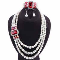 Marke Replik Indische Perle Schmuck Schmuck Satz Dubai Geschenk Hochzeit Set Halskette Armband Broach Ohrringe Keine Mindest Auftrag