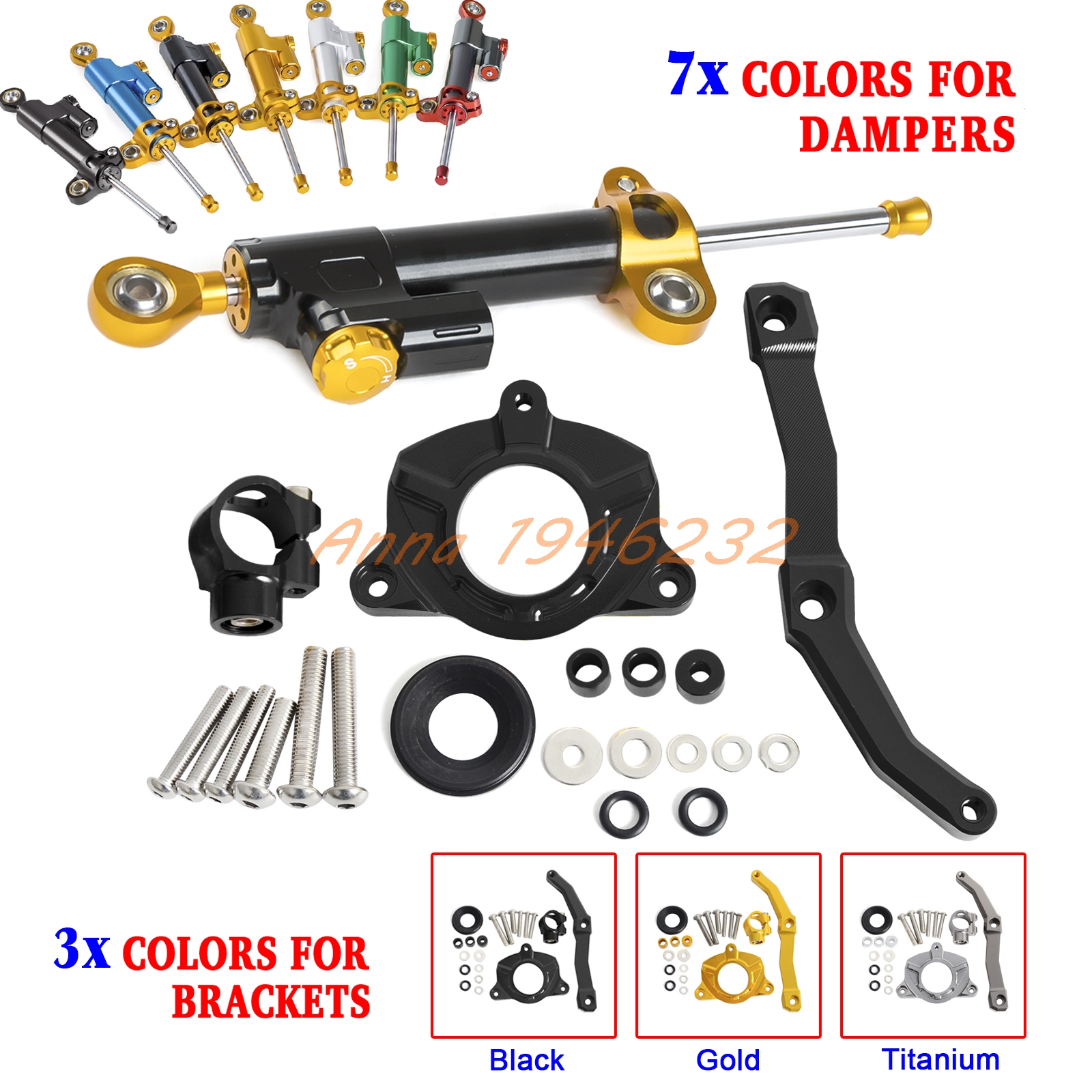 Motorcycle CNC Steering Damper Stabilizer & Bracket for Kawasaki Z1000 2010 2012 2013 2013