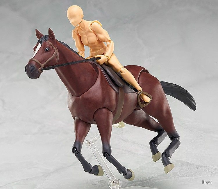 Figma 246 <font><b>Horse</b></font> White & Chestnut BJD PVC Action <font><b>Figure</b></font> <font><b>Model</b></font> <font><b>Toys</b></font> can Play with Body Kun & Chan image