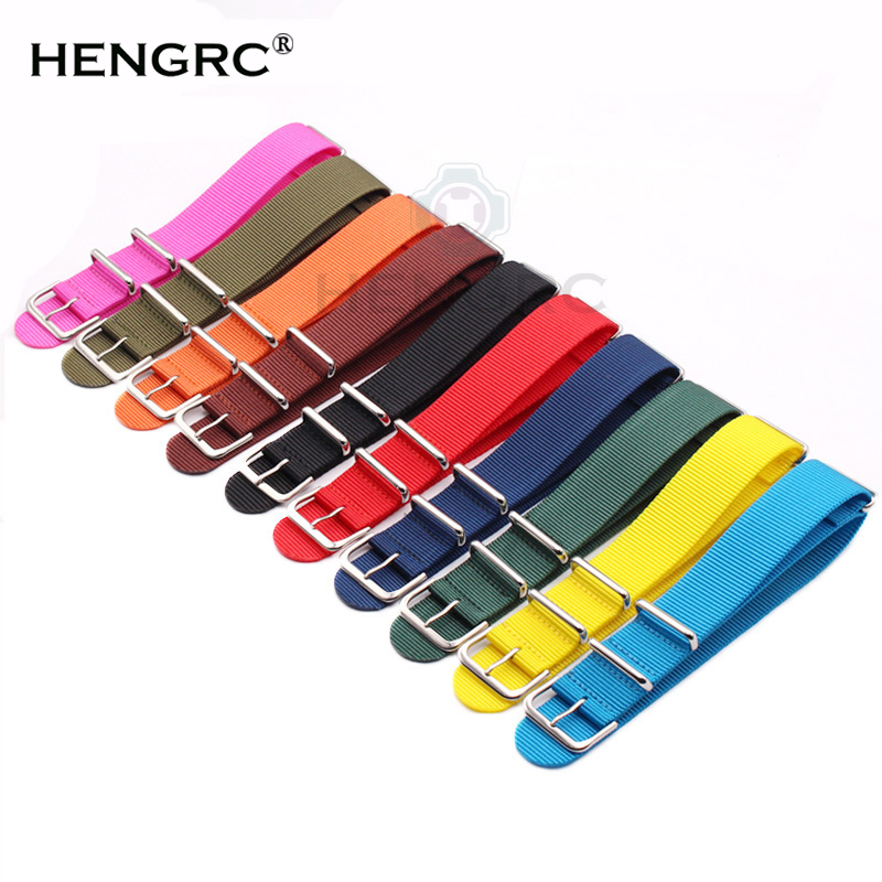 Watchband 18mm 20mm 22mm 24mm 10 Colors Women Men Sport Canvas Nato Nylon Watch Strap Silver Buckle Bracelet Watch Accessories