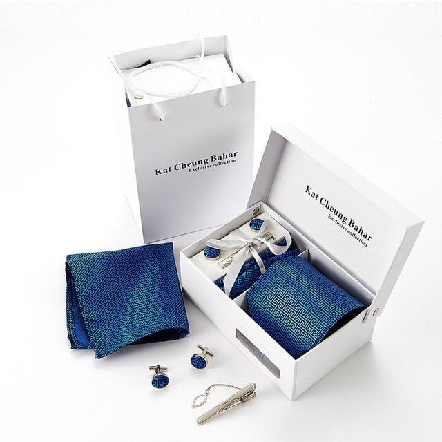 Moda Gemelos Tie Set Conjunto de Rayas Jacquard Corbata Lazo de La Boda Para El Novio Traje Cravata Woven Para Hombre Corbatas Corbatas ZI-ANB159