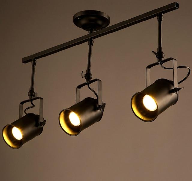 Industrial Loft Track Lighting American Rural Track Lamp Spotlights Retro Bar Counter Shop Backlights