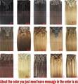 """Envío Libre 16 """"-32'' 10 unids Set 100% Brasileña Del Pelo de Remy Clip In/en el Cabello Humano extensiones de 22 Colores 120g 140g 160g 180g200g220g"""