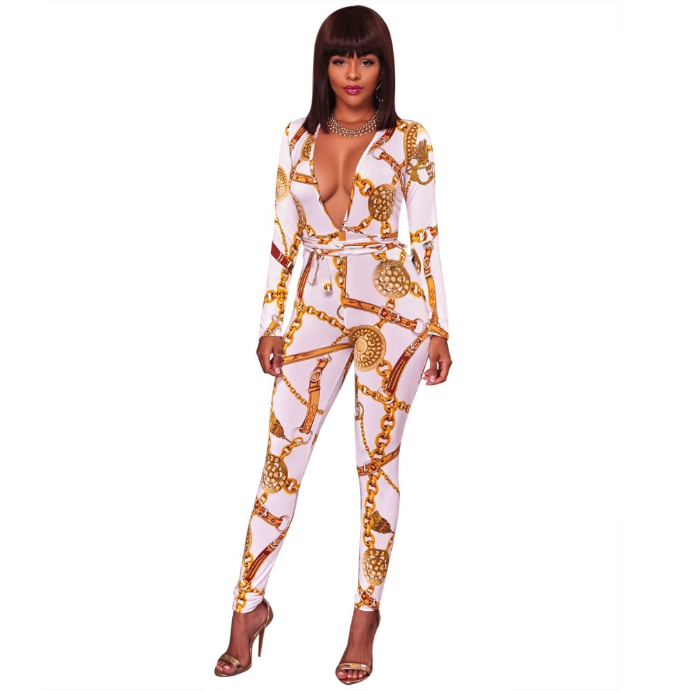 0fdbf59afe gold chain print Slip Jumpsuit Sexy deep v-neck Women Summer Jumpsuits 2018  New black white Casual Elegant Jumpsuit long sleeve
