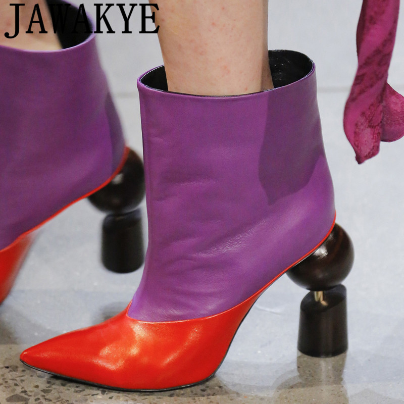 Autumn gold purple ankle boots for women geometry strange high heels shoes 2018 runway T show