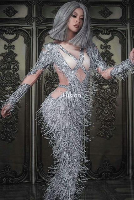 2019 New Tassel Women Jumpsuit Shining Rhinestone Stage Dance Wear Birthday Celebrate Party Sexy Club Overalls Stretch Costume