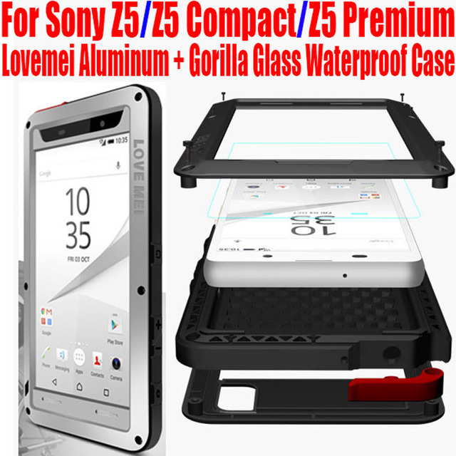 sneakers for cheap 3f171 c17f9 US $33.39 |For SONY XPERIA Z5 Original Lovemei Aluminum + Gorilla Glass  Shock Drop Waterproof case for Z5 Compact Z5 Premium NO: Z51-in Fitted  Cases ...