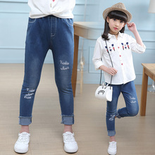 Girl Denim Pants Baby Spring Skinny Ripped Jeans Leggings Cotton Elastic for Children Solid Casual Trousers