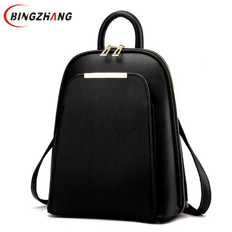 Brand 2017 Solid High Quality PU Leather Backpack Women Designer School Bags For Teenagers Girls Luxury