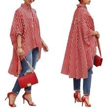 Casual Fashion Autumn Ladies Asymmetric Shirt Women Red Stripe Print Blouse Batwing Half Sleeve Hi-Lo Hem Loose Long Tops floral print batwing sleeve dip hem top
