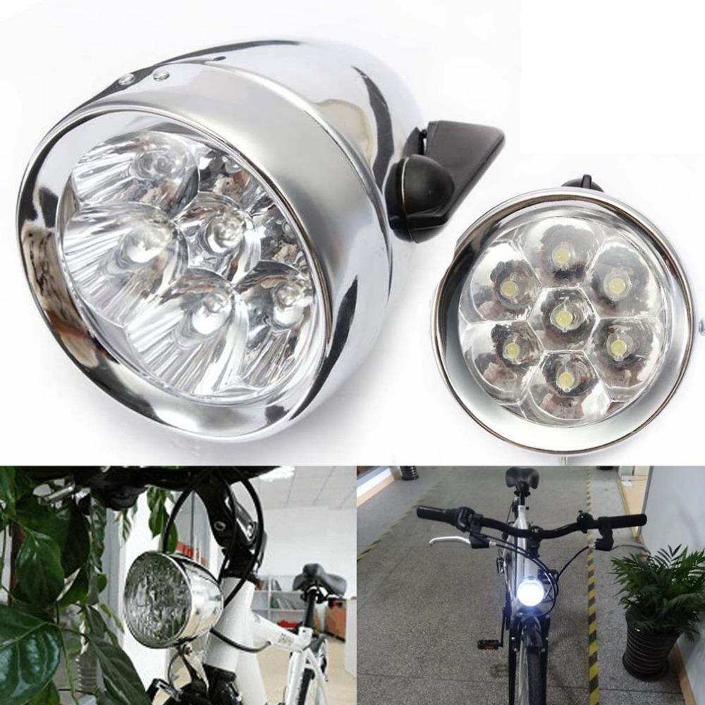General Vintage Bicycle Bike Front Light Lamp Battery 7 LED Headlight With Bracket Battery Operated Safety Night Riding Light
