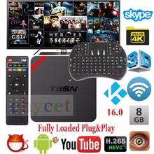 Latest T95N Android TV Box Quad Core Amlogic S905X UHD 4K Smart TV Box KODI XBMC Miracast DLNA IPTV Set-top box +Free keyboard
