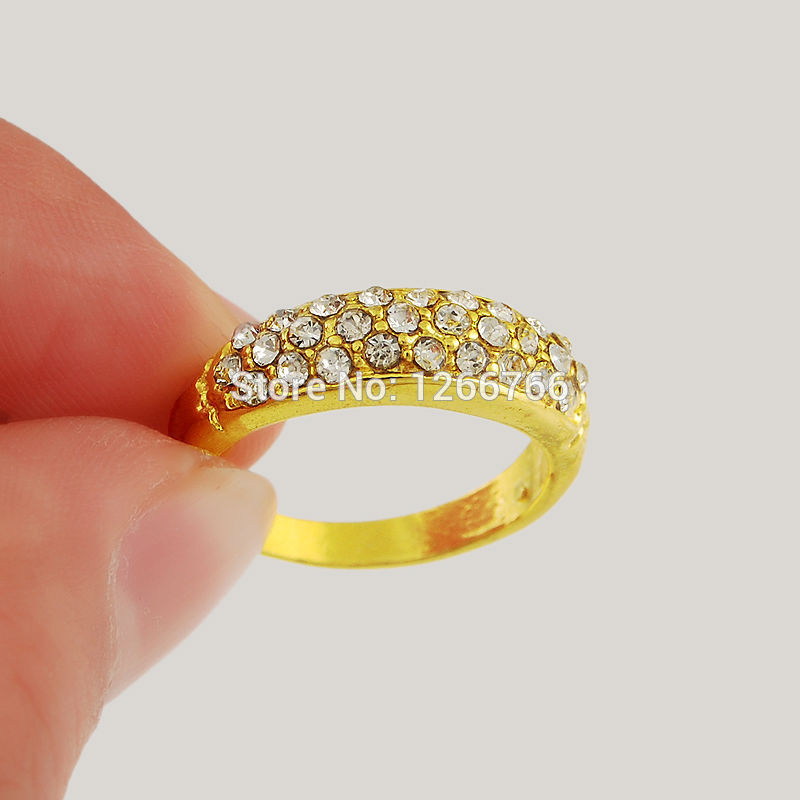 24kr24 Free Shipping Factory Whole Price 24k Gold Ring Women Jewelry Simple Small Crystal Lady Engaged Ornaments In Rings From