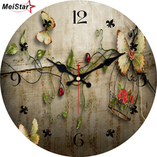 MEISTAR Vintage Butterfly Round Silent Home Decor for Kitchen Cafe Office Saat Decoration Large Wall Art Clock horloge murale