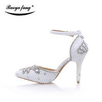 White Pearl Bridal Wedding Shoes Women Summer Fashion Sandals Woman Real Leather 10cm Heel Shoes Woman