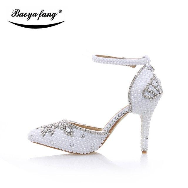 de014375d1 Branco pérola sapatos de Noiva sapatos de Casamento Das Mulheres Sandálias  da moda Verão couro real