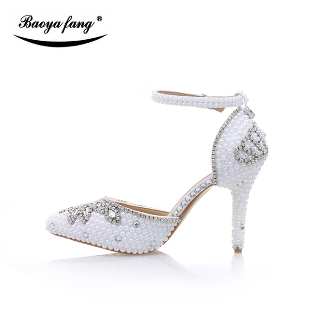 a1538ef2928fa2 White pearl Bridal Wedding shoes Women Summer fashion Sandals woman real  leather 10cm heel shoes woman Summer sandals