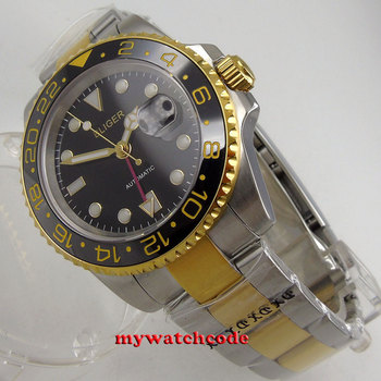 40mm bliger black dial sapphire glass red GMT date automatic mens watch B270
