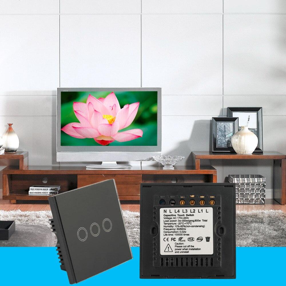 El Más Nuevo Smart Home Negro Panel de Cristal 2 Circuito del REINO UNIDO enchu