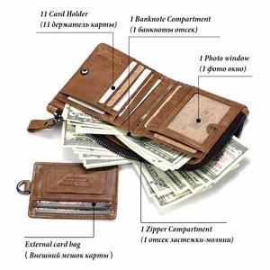 Image 3 - GZCZ Genuine Leather Men Wallet Fashion Coin Purse Card Holder Small Wallet Men Portomonee Male Clutch Zipper Clamp For Money